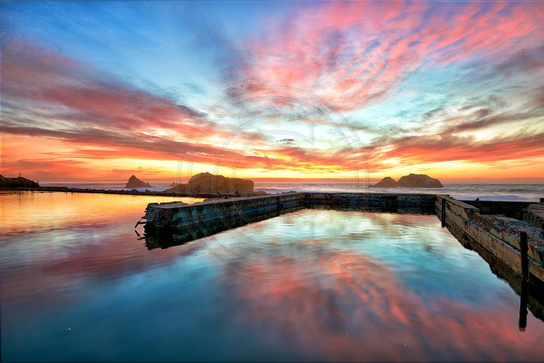 Sunset at Sutro baths