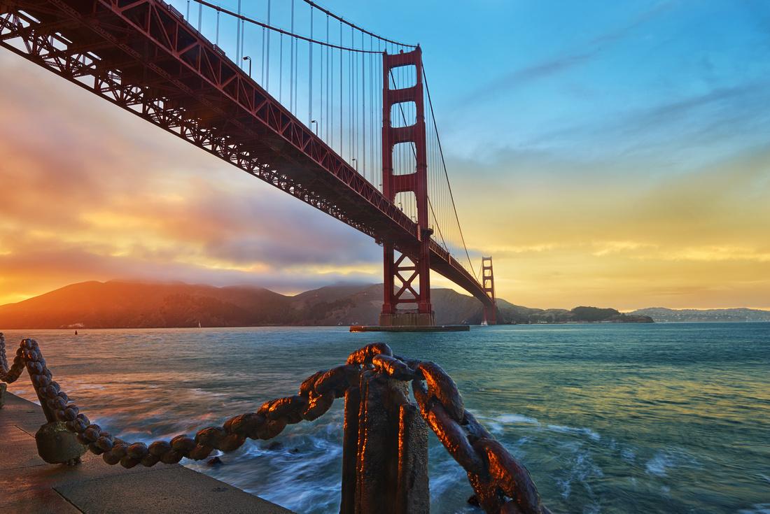 Bridge at Sunset: Golden gate Bridge, San Francisco