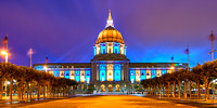 San Francisco City hall : Golden State Warriors colors