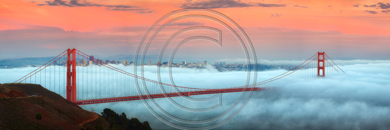 Fog filled Sunset: Golden Gate Bridge, San Francisco, California